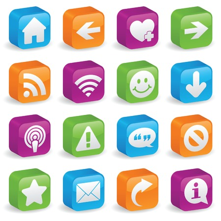 Various web icons and symbols on brightly colored, three-dimensional square buttons