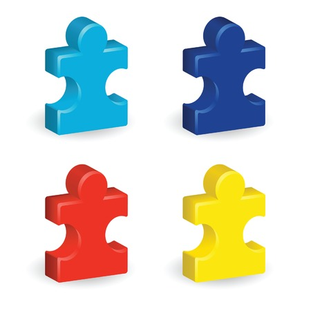Four brightly colored, three-dimensional puzzle pieces, representing autism awareness Ilustracja