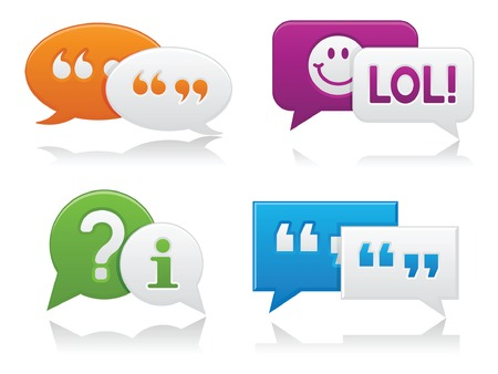 instant messaging: Vibrantly colored, smooth-style chat bubbles with drop shadows; perfect for web projects