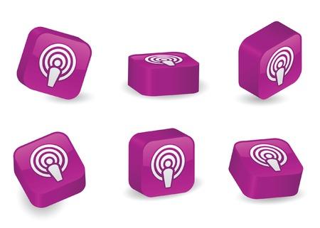 Podcast icona vivace, brillante, tridimensionale blocchi in varie posizioni Archivio Fotografico - 5270146