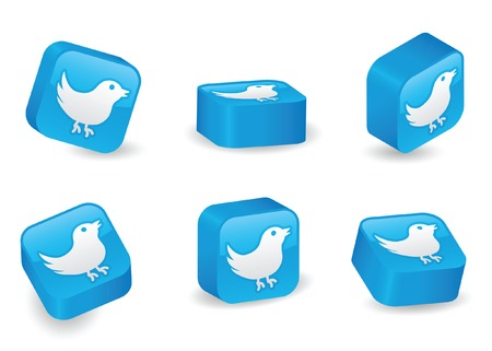 Bird icon on vibrant, glossy, three-dimensional blocks in various positions Illustration