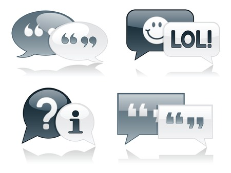 Monocromatica, lucido chat bolle con ombreggiature, ideale per progetti web Archivio Fotografico - 5377278