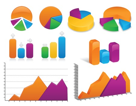 Arrangement of vibrantly colored charts and graphs, both in 2D and 3D styles; vector files contains unexpanded blends. Illustration