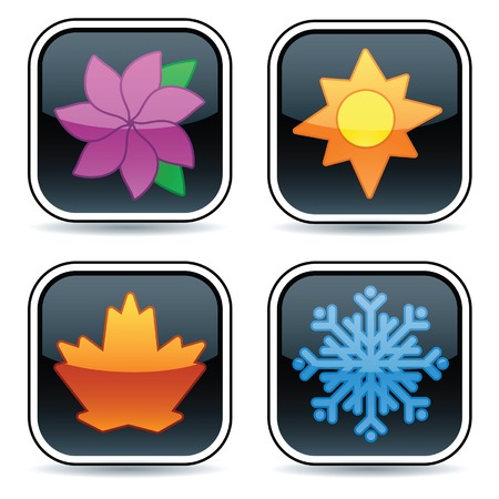 光沢のある黒いボタン、それぞれ 4 つの季節の 1 つを表すアイコン  イラスト・ベクター素材