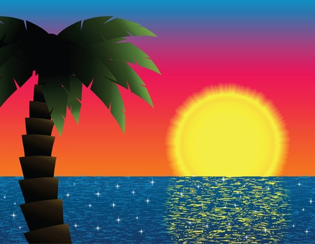 Palm tree framing a tropical sunset, reflected on a sparkling ocean; contains clipping path