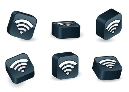 WiFi icon on vibrant, glossy, three-dimensional blocks in various positions Vector