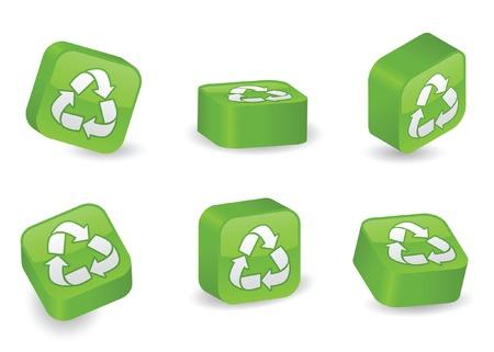 conciencia ambiental: Reciclar el s�mbolo en bloques tridimensionales, brillantes y vibrantes en varias posiciones