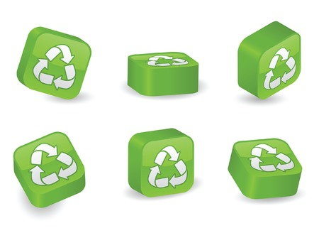 environmental awareness: Recycle symbol on vibrant, glossy, three-dimensional blocks in various positions Illustration