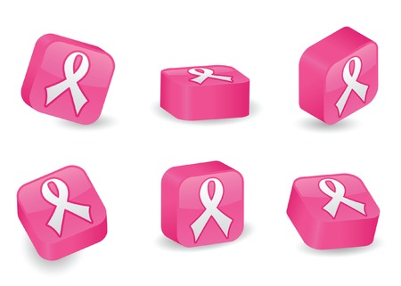 Awareness ribbon icon on vibrantly pink, glossy, three-dimensional blocks in various positions