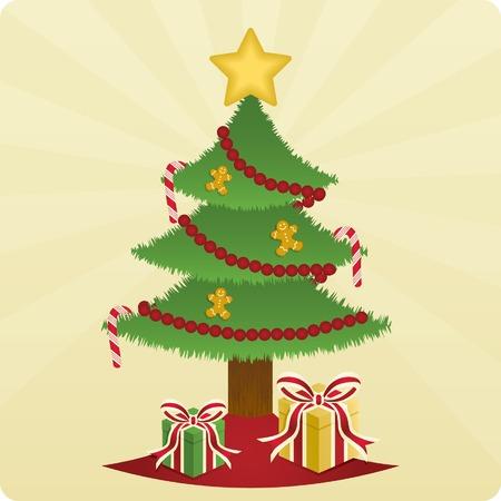 Albero di Natale splendidamente decorate con canne di caramella e pandizenzero uomini e lucido, avvolto presenta sotto. Archivio Fotografico - 5788976