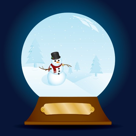 Holiday snow globe containing a classy snowman in a snowy scene; blank, metal plaque for your own Òengraving.Ó Vector
