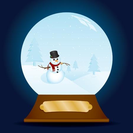 Vacanza neve globo contenente un pupazzo di neve di classe in una scena nevoso; placca vuota, metallica per il proprio ?engraving.? Archivio Fotografico - 5788992