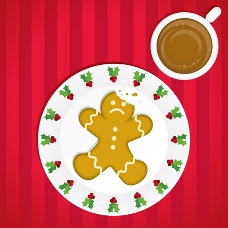 An unfortunate (and delicious) gingerbread man on a festive Christmas plate next to a steaming cup of cocoa, all laid out on a sateen-striped tablecloth; contains blend,; unexpanded for easy editing.