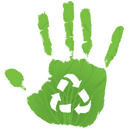 Green handprint with swirling vines and recycling symbol in palm