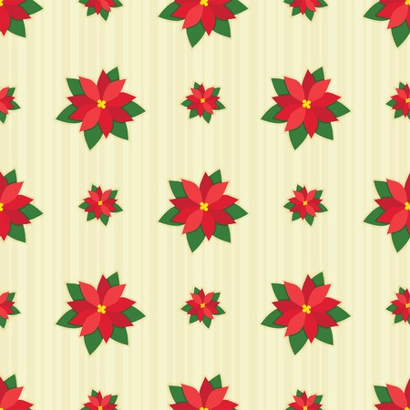 Red festive poinsettias on cream-colored stripes in a seamless arrangement.