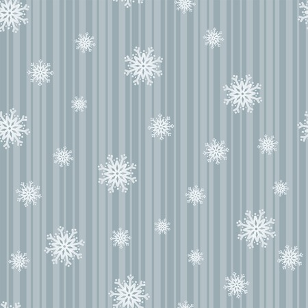 Icy blue snowflakes on stripes in a seamless composition Stock Illustratie