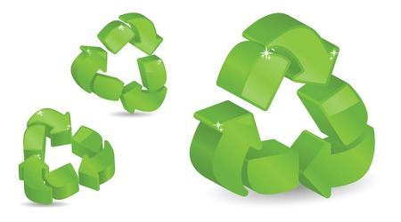 Glossy, sparkling recycling symbols in 3D