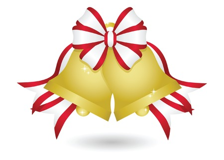 Sparkling gold Christmas bells with a red bow and streaming ribbons 免版税图像 - 5832724