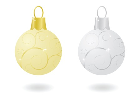 Gold and silver sparkling metallic Christmas ornaments