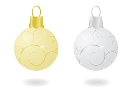 Oro e argento metallico scintillante ornamenti di Natale Archivio Fotografico - 5832725