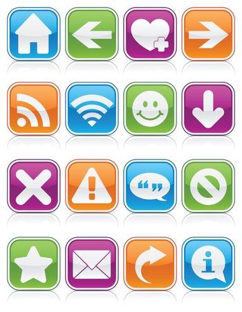 Insieme di simboli di web e il computer su piazze lucidi, di colore vibrantly Archivio Fotografico - 6169302