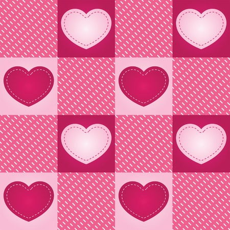 Pink hearts stitched onto a seamless checkered background Ilustracja