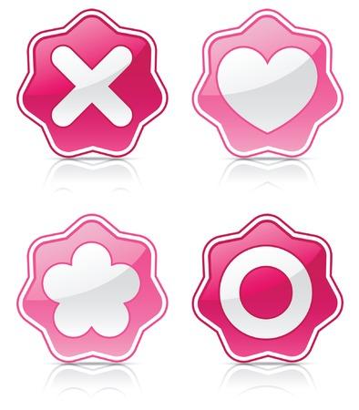 Simboli che rappresentano amore immessi sul lucidi, rosa sigilli, riflettuti sul bianco Archivio Fotografico - 6218617