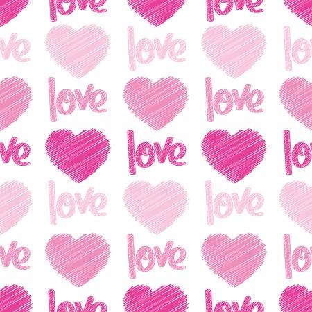 Cuori rosa e la parola amore scritto su una piastrella senza saldatura Archivio Fotografico - 6292072