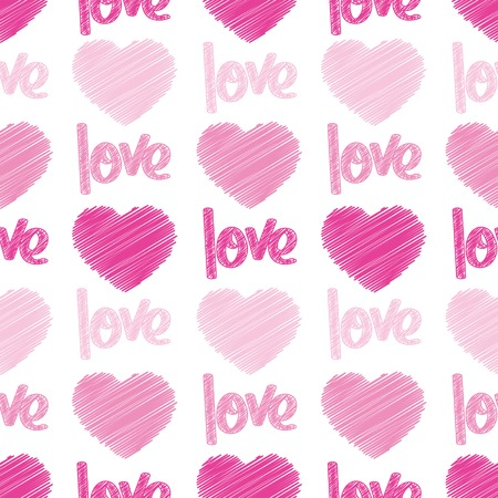 Pink hearts and the word love scribbled on a seamless tile