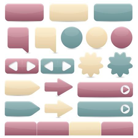 web buttons: Web navigation buttons in subtle colors