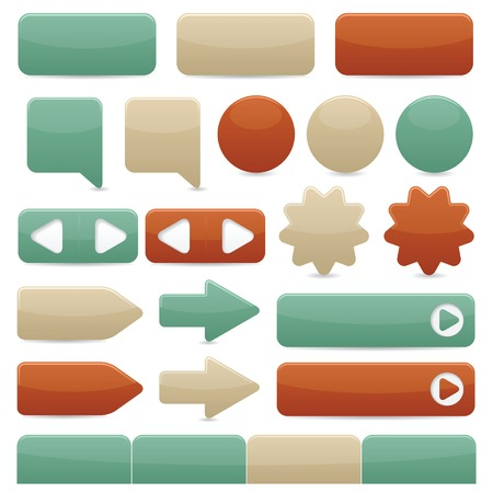 Web navigation buttons in copper, tan & turquoise colors Stock Vector - 6374161