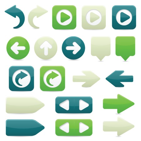 Glossy directional arrow buttons in bright green, dark blue and off-white