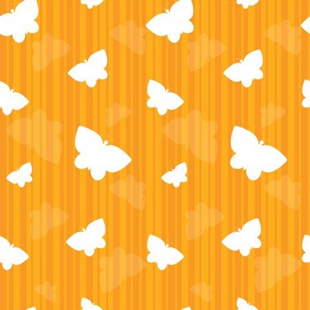 Farfalle bianche galleggiante su uno sfondo a righe arancione Archivio Fotografico - 6472079