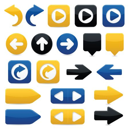 blue button: Glossy directional arrow buttons in bright yellow, blue and black