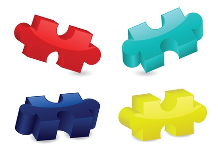 Four glossy, three-dimensional puzzle pieces in different angles