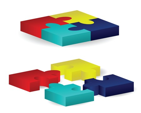 Three-dimensional puzzle pieces arranged in two sets of squares, one put together and one spread out