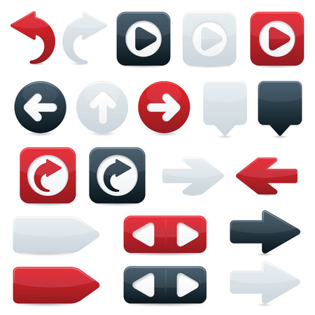 Glossy directional arrow buttons in sleek black, shiny red and smooth white