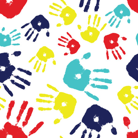 Brightly colored handprints arranged in a seamless tile, colors represent autism awareness. Illustration