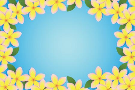 Beautiful plumeria bordering a blue background Stock Illustratie