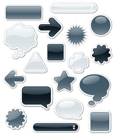 Collection of monochromatic, glossy web elements Stock Vector - 7009765