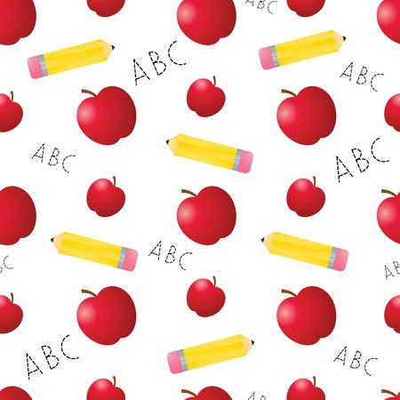 Apples, pencils, and ABCs arranged on a seamless tile; vector file contains clipping path. 矢量图像