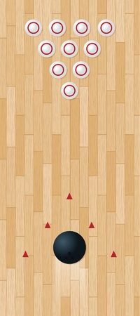 Illustration of a bowling lane; vector file contains clipping mask.