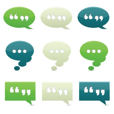 quotation: Classically colored chat bubbles with drop shadows; gradients used. Stock Photo