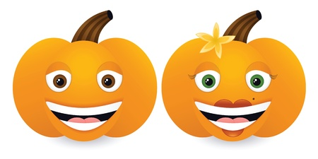Male and female smiling cartoon pumpkins, gradients blends used. 免版税图像