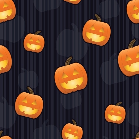 Smiling jack-o-lanterns with glowing faces arranged on a seamless striped tile 免版税图像 - 10010390
