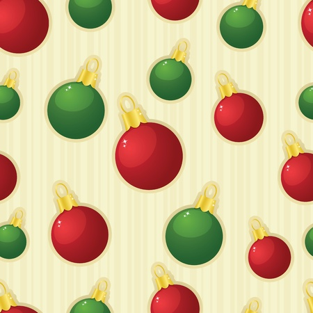 Shiny red and green Christmas ornaments arranged on a seamless striped tile; both radial and linear gradients used. Vector file also contains clipping masks.