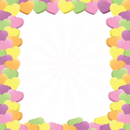 Three-dimensional conversation hearts in pink, purple, green, yellow and orange arranged in a square border; add your own text (vector contains clipping mask.)