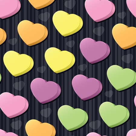 Three-dimensional conversation hearts in pink, purple, green, yellow and orange arranged on a black striped seamless tile; add your own messages (vector contains clipping mask.)