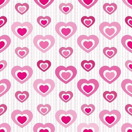 Solid-filled hearts ÒcutoutÓ from each other in various shades of pink arranged on seamless tile with miniature heart stripes