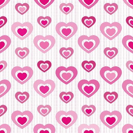 Solid piena di cuori ritaglio gli uni dagli altri in varie tonalità di rosa su arranged senza soluzione di piastrelle con strisce cuore in miniatura Archivio Fotografico - 11980700